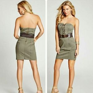 Sexy Strapless Belted Military Olive Green Dress 4